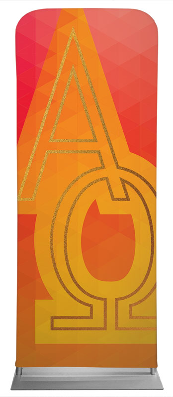 Banners, Icons, Bold Iconography Alpha Omega, 2'7 x 6'7