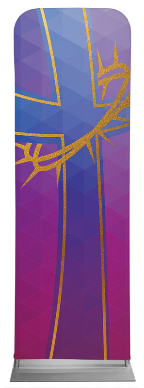 Banners, Easter, Bold Iconography Purple Cross, 2' x 6'
