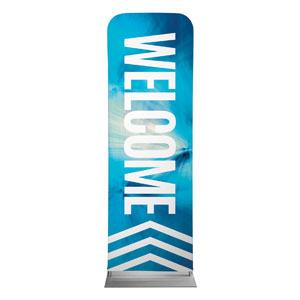 Chevron Welcome Blue 2 x 6 Sleeve Banner