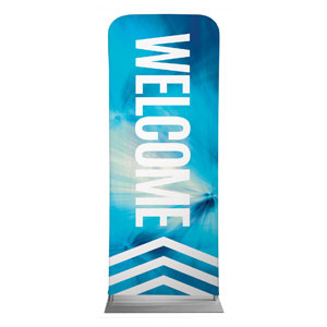 "Chevron Welcome Blue 2'7"" x 6'7"" Sleeve Banners"