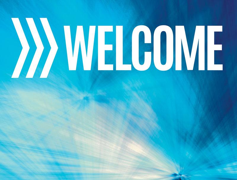 chevron welcome blue banner - church banners