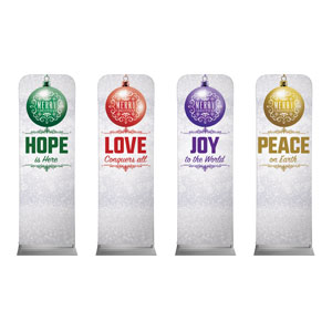 Silver Snow Advent Ornaments 2 x 6 Sleeve Banner