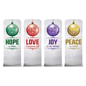"Silver Snow Advent Ornaments 2'7"" x 6'7"" Sleeve Banners"