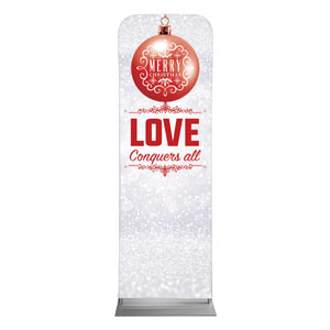 Silver Snow Love Ornament 2 x 6 Sleeve Banner