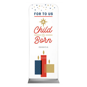 Stamped Christmas Child Born Banners
