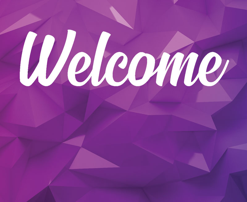 Welcome Purple Geometric Banner Church Banners