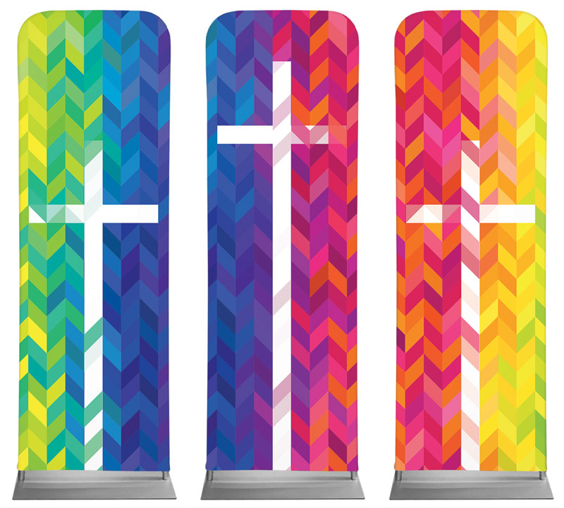 Banners, Easter, Bright Chevron Crosses, 2' x 6'