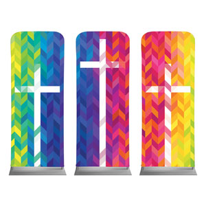 "Bright Chevron Crosses 2'7"" x 6'7"" Sleeve Banners"