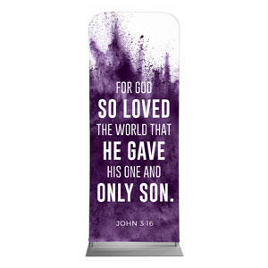 "Purple Powder John 3:16 2'7"" x 6'7"" Sleeve Banners"