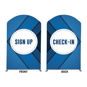 Bold Blue Sign Up Check In 5' x 8' Curved Top Sleeve