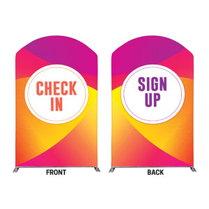 Curved Colors Sign Up Check In 5' x 8' Curved Top Sleeve