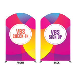 Curved Colors VBS Sign Up Check In 5' x 8' Curved Top Sleeve
