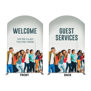 Happy Group Guest Services & Welcome 5' x 8' Curved Top Sleeve