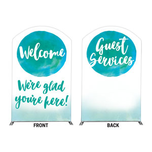 Watercolor Circle Welcome Guest Services 5' x 8' Curved Top Sleeve