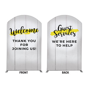 Yellow Paint Stroke Welcome Guest Services 5' x 8' Curved Top Sleeve