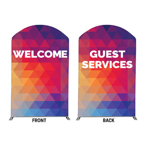 Geometric Bold Welcome Guest Services 5' x 8' Curved Top Sleeve