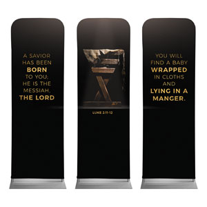 Gold Christmas Manger Triptych 2 x 6 Sleeve Banner