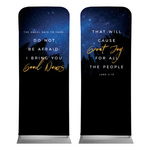 "Night Sky Gold Script Luke 2 2'7"" x 6'7"" Sleeve Banners"