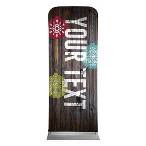 "Dark Wood Christmas Ornaments Your Text 2'7"" x 6'7"" Sleeve Banners"