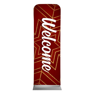 Red and Gold Snowflake Welcome 2 x 6 Sleeve Banner