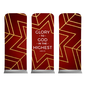 "Red and Gold Snowflake Triptych 2'7"" x 6'7"" Sleeve Banners"