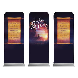 "Dramatic Tomb Easter Triptych 2'7"" x 6'7"" Sleeve Banners"