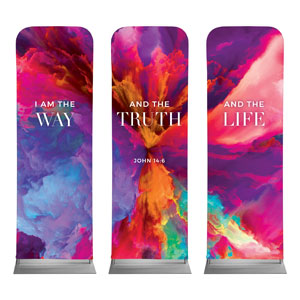 Easter Color Smoke Triptych 2 x 6 Sleeve Banner