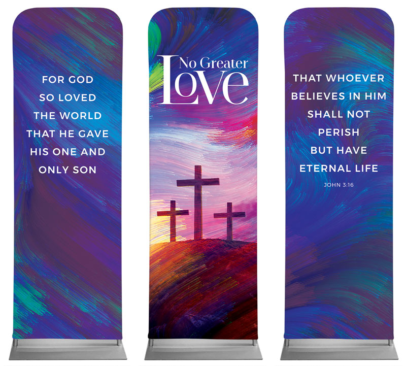 Banners, Easter, No Greater Love Triptych, 2' x 6'