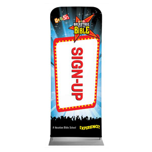 "Go Fish Backstage With The Bible Sign Up 2'7"" x 6'7"" Sleeve Banners"