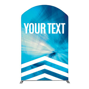 Chevron Blue Your Text 5' x 8' Curved Top Sleeve