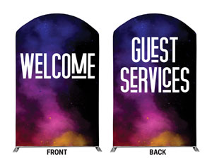 Dark Smoke Welcome Guest Services 5' x 8' Curved Top Sleeve