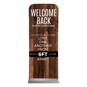 "Walnut Welcome Back Distancing 2'7"" x 6'7"" Sleeve Banners"
