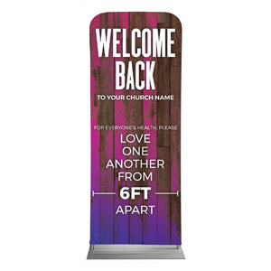 "Colorful Wood Welcome Back Distancing 2'7"" x 6'7"" Sleeve Banners"