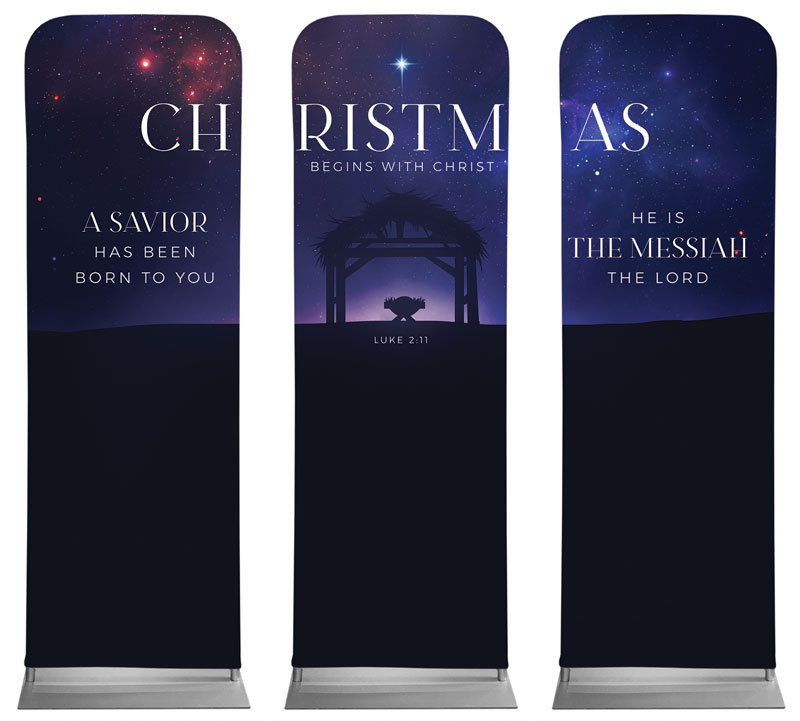 Banners, Christmas, Begins With Christ Manger Triptych, 2' x 6'