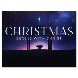 Begins With Christ Manger Jumbo Banners
