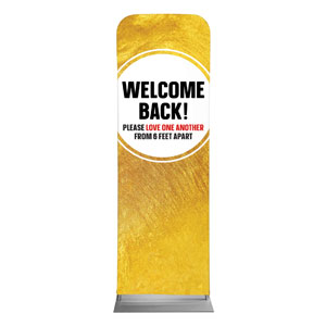 Gold Dot Welcome Back Distancing 2 x 6 Sleeve Banner