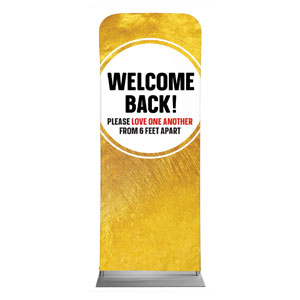 "Gold Dot Welcome Back Distancing 2'7"" x 6'7"" Sleeve Banners"