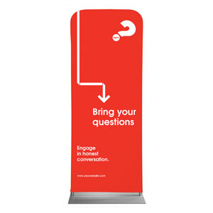 "Alpha Arrow Questions Red 2'7"" x 6'7"" Sleeve Banners"