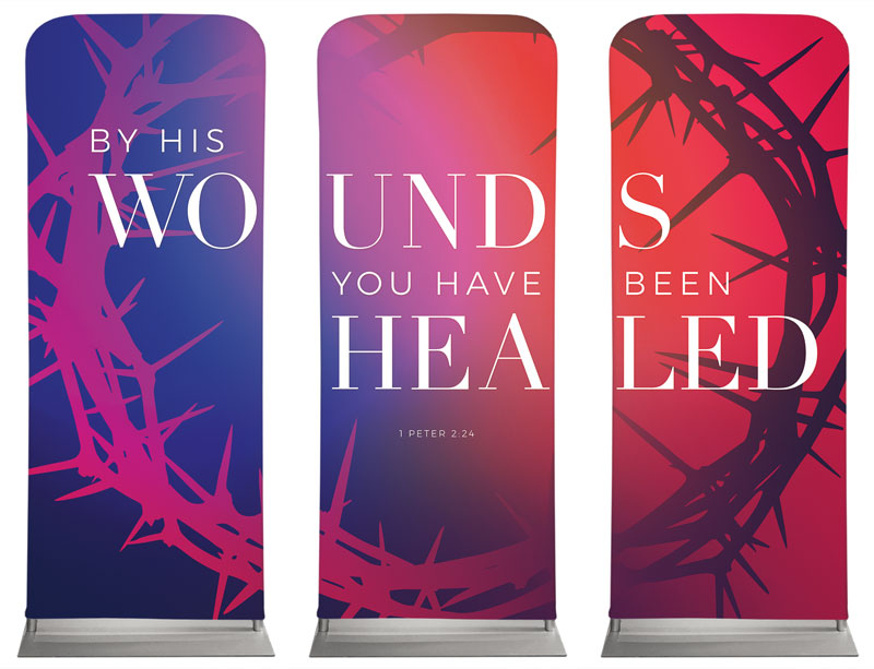 Banners, Easter, Celebrate Easter Crown Triptych, 2'7 x 6'7