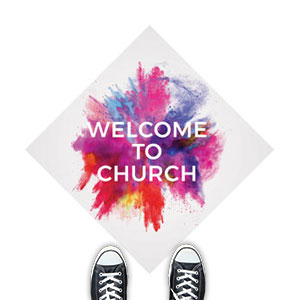 Color Burst Welcome Church Floor Stickers
