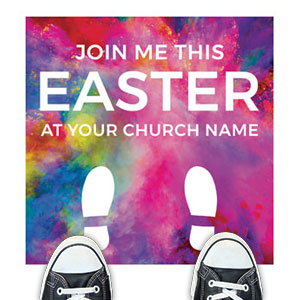 Back To Church Easter Feet Floor Stickers