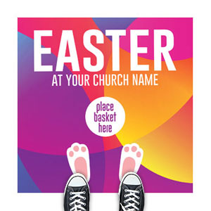 Curved Colors Easter Bunny Feet Floor Stickers