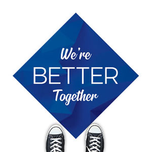 Blue Abstract Better Together Floor Stickers