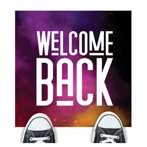 Dark Smoke Welcome Back Floor Stickers