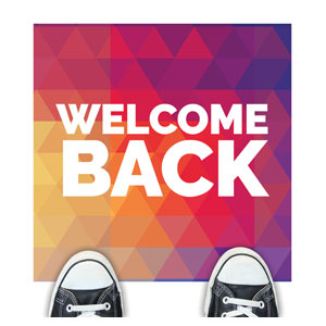 Geometric Bold Welcome Back Floor Stickers