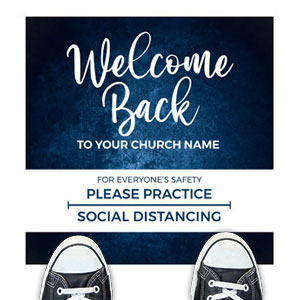 Blue Grunge Welcome Back Distancing Floor Stickers