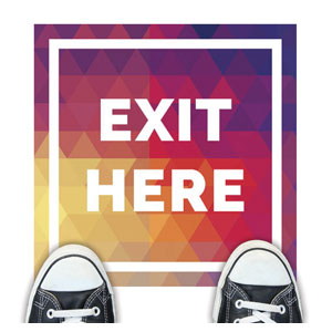 Geometric Bold Exit Here Floor Stickers