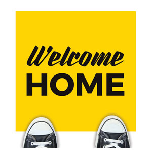 Yellow Welcome Home Floor Stickers