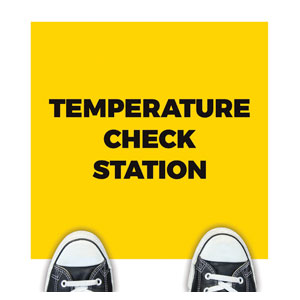 Yellow Temperature Check Floor Stickers