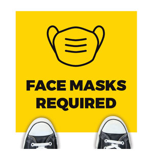 Yellow Face Masks Required Floor Stickers